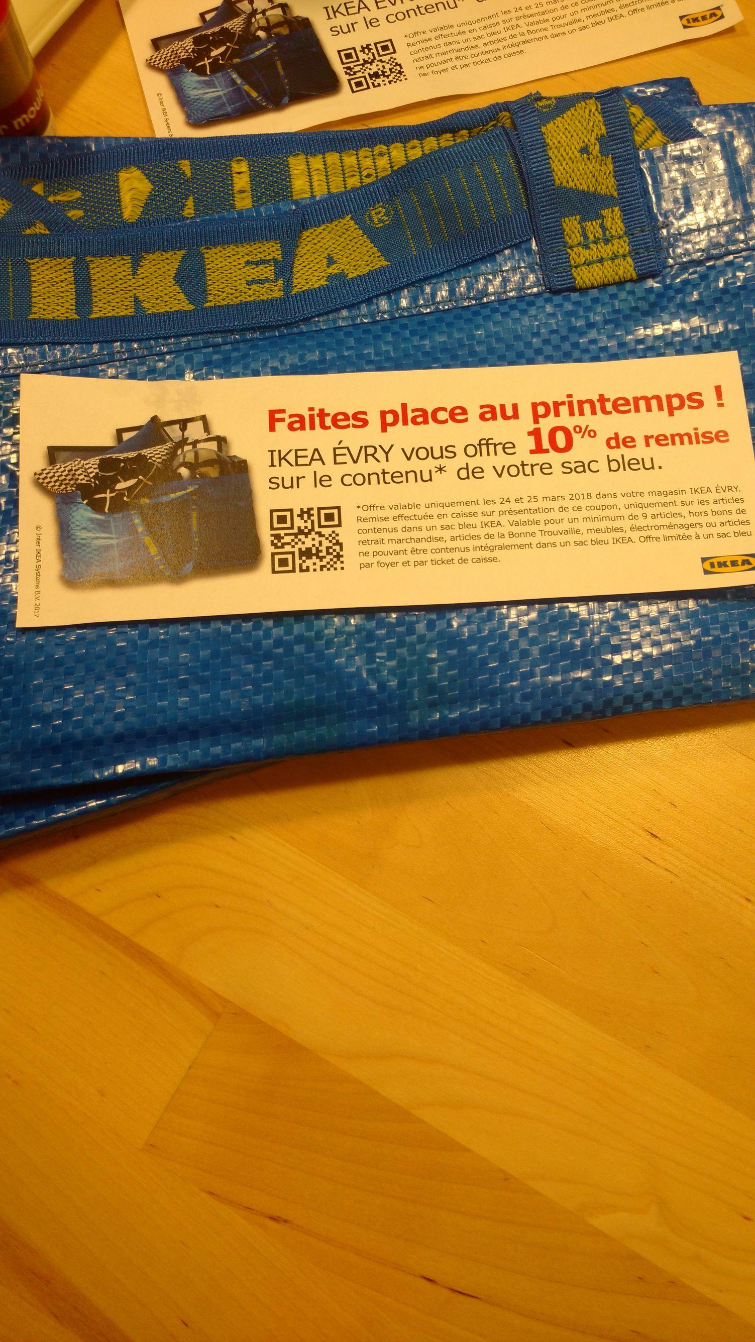 Sac bleu de chez Ikea gratuit + 10% de réduction sur son contenu (sous conditions) - Evry (91)
