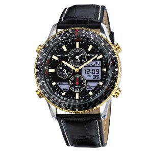 Montre Homme Accurist - MS1031B Quartz Analogique  Digital avec bracelet Cuir Noir