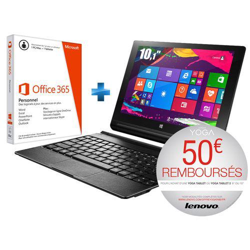 """Tablette 10.1"""" Lenovo Yoga Tablet - 32 Go avec clavier et Office 365 pendant 1 an  (ODR 50€)"""