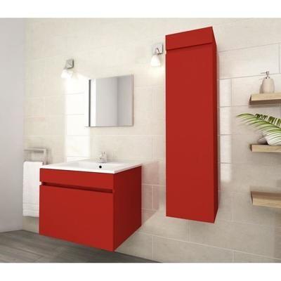 Ensemble de salle de bain simple vasque LUNA Rouge mat - 60cm