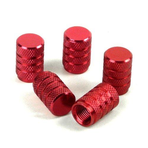 Lot de 5 capuchons de Valve Rond en aluminium - Rouge (vendeur tiers)