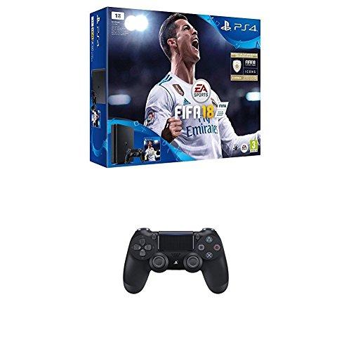 Une 2ème manette DualShock 4 V2 offerte pour l'achat d'un pack PS4 - Ex : PS4 Slim 1To + FIFA 18 + 2ème manette