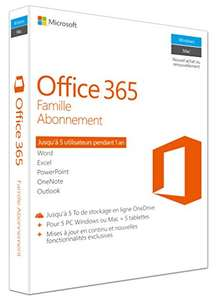 Licence Microsoft Office 365 Famille - Pour 5 appareils Windows ou Mac + 5 Tablettes - 1 An