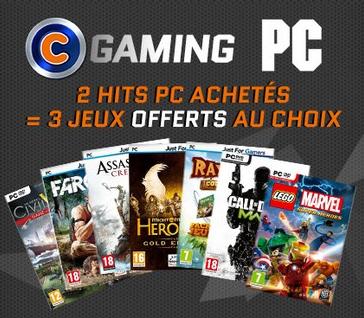 2 jeux-vidéo PC  achetés = 3 jeux PC offerts parmi une sélection de jeux-vidéo