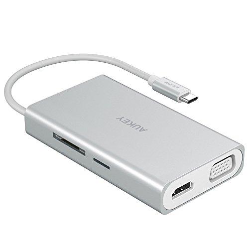 HUB USB-C Aukey CB-C55 - HDMI 4k, Lecteur de Carte SD & Micro SD, Ethernet 1000 Mbps, 2 Ports USB 3.1 pour MacBook Pro (Vendeur tiers)