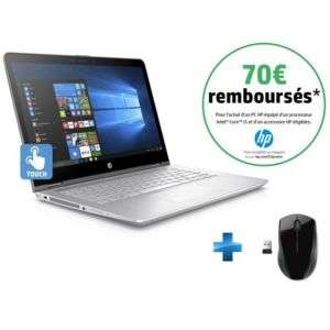 "PC Portable 14"" HP Pavilion x360 14-BA008NF - Full HD, i5-7200U, SSD 256 Go, RAM 8 Go, Windows 10 + Souris sans fil X3000 (via ODR de 70€)"