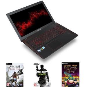 """PC portable 15.6"""" full HD Asus FX552VE-DM380T (i5-7300HQ, GTX-1050 Ti, 6 Go de RAM, 1 To + 128 Go en SSD) + Assassin's Creed IV Black Flag + Call of Duty: Modern Warfare 3 + South Park : Le Bâton de la Vérité"""
