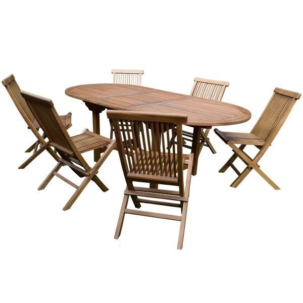 Ensemble de jardin Jakarta en Teck : Table extensible (160/210 cm) + 6 Chaises