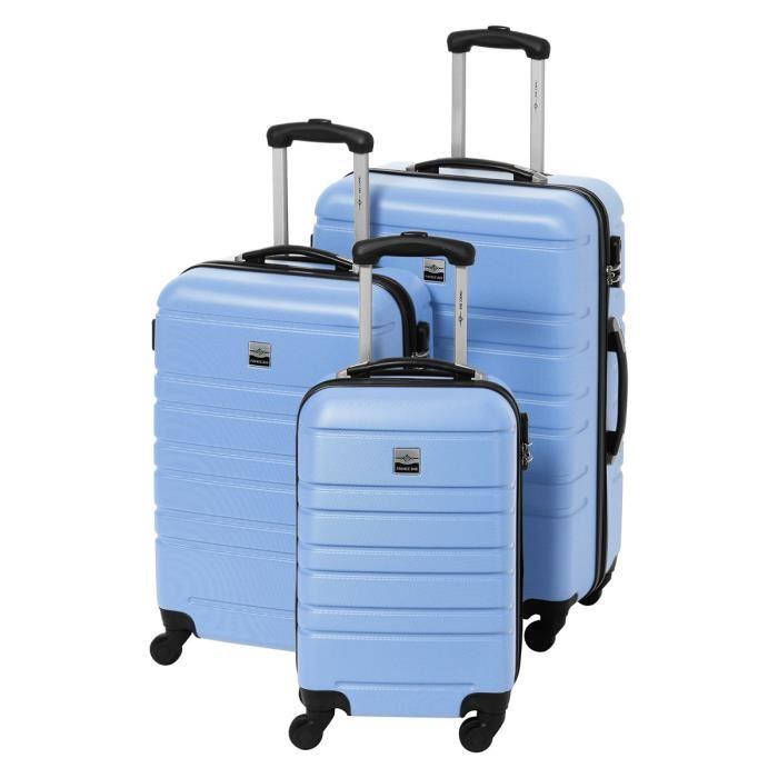 Set de 3 Valises France Bag - Rigide ABS & Polycarbonate, 4 Roues, Bleu et Carbone (55-65-75 cm)