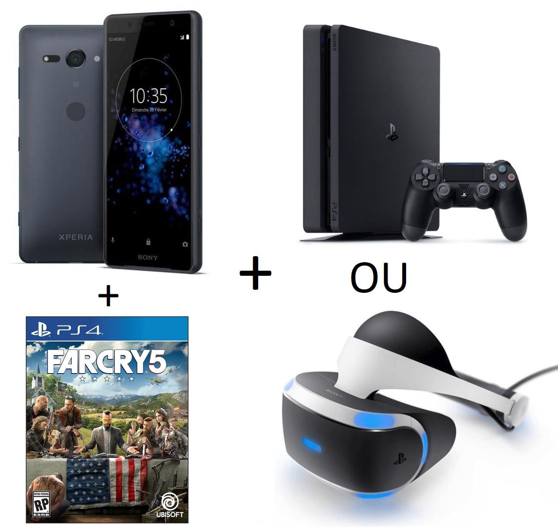 [Précommande] Smartphone Sony Xperia - XZ2 à 769€ ou XZ2 Compact à 573€ + Far Cry 5, PES 2018 ou PS Plus 3 mois + Console PS4 Slim 500 Go ou Casque PS VR (via formulaire)