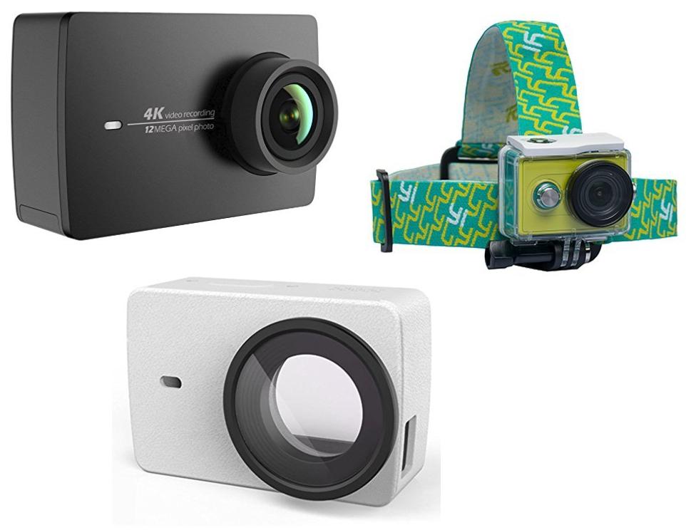 Caméra sportive YI (Noir) - 4K 30 fps / 1080p 120 fps, 12 MP + Étui en Cuir (Blanc) + Serre-Tête (vendeur tiers)
