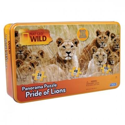 Lot de 2 Puzzles 3-en-1 National Geo Wild - 172 pièces édition Troupe de Lions/Lémurs Catta