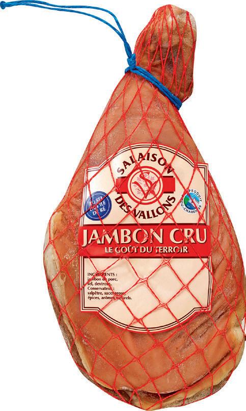 """Jambon cru avec os salé au sel de l'île de Ré """"Salaisons des Vallons"""" - Prix au Kg"""