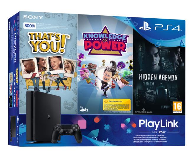Console Sony PS4 Slim, 500Go Noire + Qui Es-tu? + Knowledge Is Power + Hidden Agenda (Frontaliers Suisse)