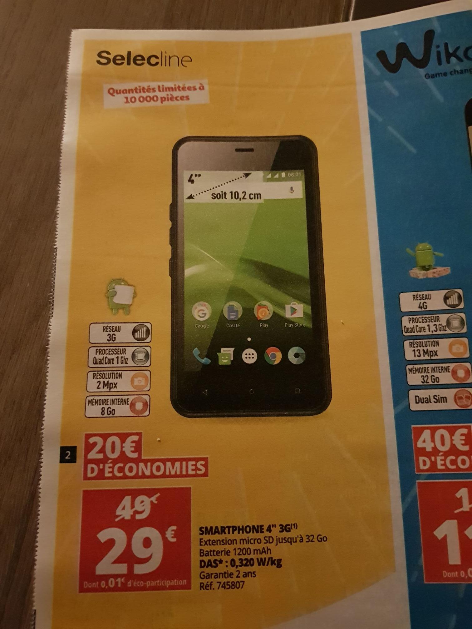 """Smartphone 4"""" Selecline - 8Go, 4 coeurs 1.0ghz"""
