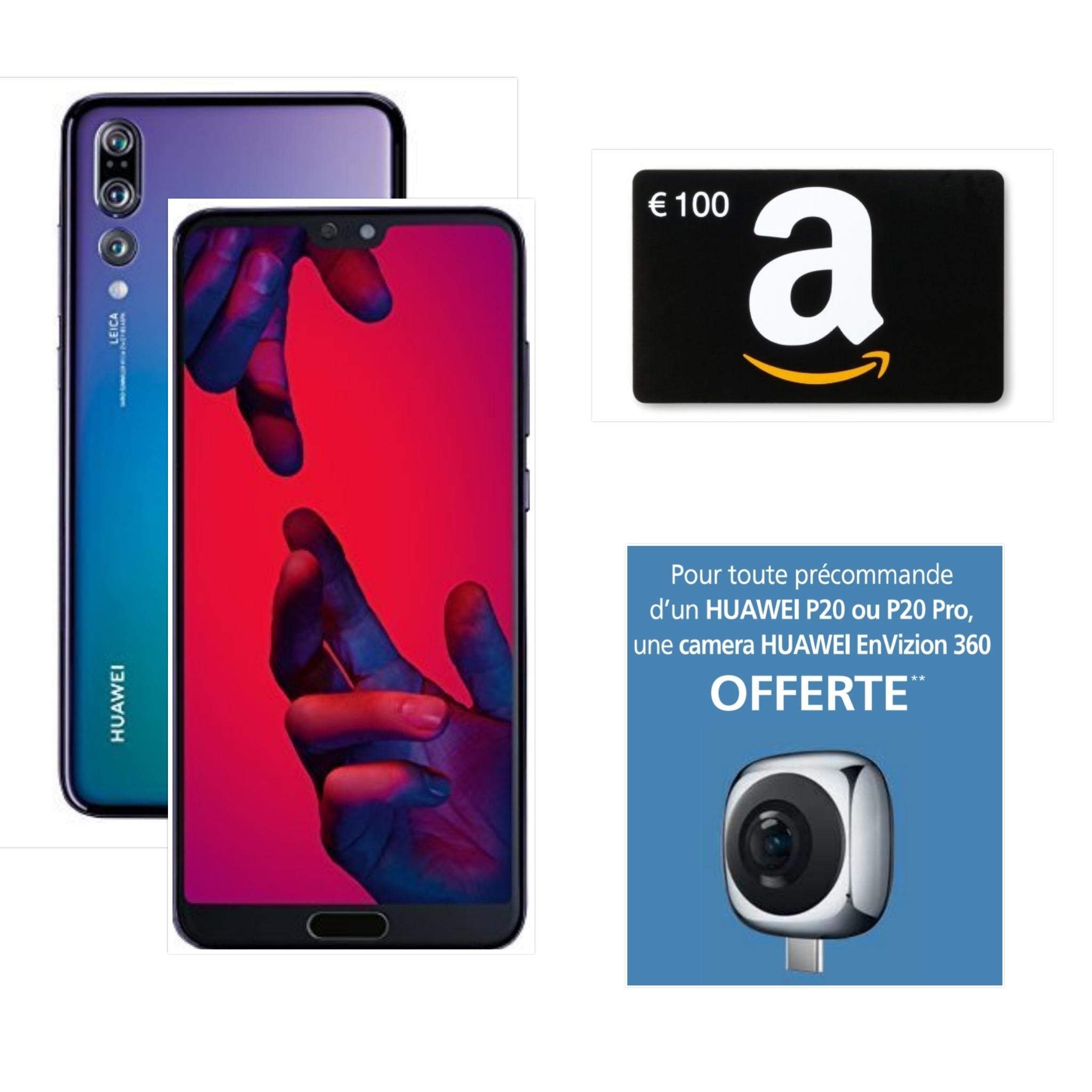 """Smartphone 6.1"""" Huawei P20 Pro - 128 Go + Carte cadeau Amazon de 100€ + Camera 360 offerte (via formulaire)"""