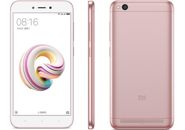 """Smartphone 5"""" Xiaomi Redmi 5A - SnapDragon 425, 2 Go de RAM, 16 Go, Rose"""