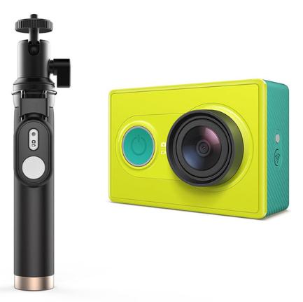 Caméra d'Action Yi 1080p - Coloris blanc ou vert + Perche à Selfie - Jaune (via l'Application)