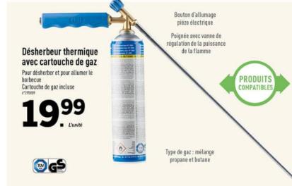 Désherbeur thermique avec cartouche de gaz