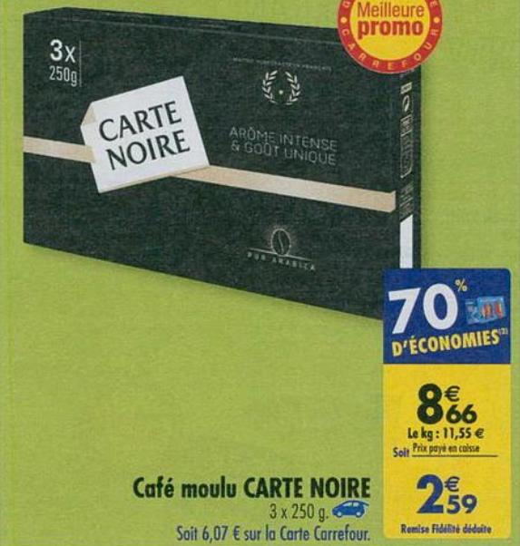 Lot de 3 paquets de café moulu Carte Noire - 250 g (via 6.07€ sur la carte de fidélité + BDR)