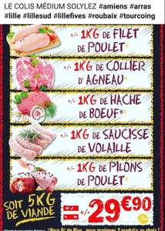 Lot de 5 kg de viandes différentes (Agneau, bœuf, volailles) - Solylez