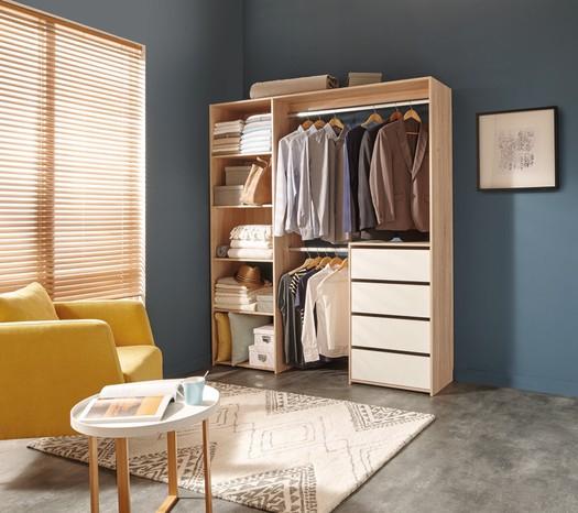 Dressing décor imitation chêne avec rangement 4 tiroirs - L180cm