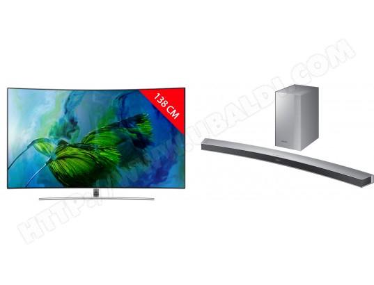 """TV QLED 55"""" Samsung QE55Q8C - Incurvé, UHD 4K, HDR, 10bits, 100Hz, Smart TV + Barre de son SAMSUNG HWM4501 (via odr de 750€)"""