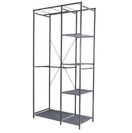 Penderie 4 étagères gris acier et intissé Spaceo - H.200 x l.100 x P.50 cm (Gonesse 95)