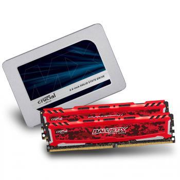"""Pack kit de RAM Ballistix Ballistix Sport LT DDR4-2400 16 Go (2x8) + SSD interne 2.5"""" Crucial MX500 (500 Go)"""