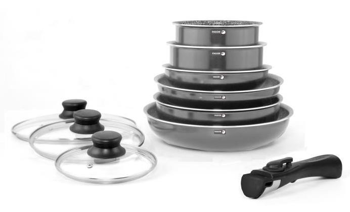 Batterie de cuisine 10 pièces Fagor FG101 - Anthracite, Tous feux dont induction