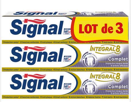 Sélection de Produits en Promotions : EX : Lot de 3 Tubes de Dentifrice Signal Intégral - 3x75ml (Via BDR + 3.50€ sur la carte)