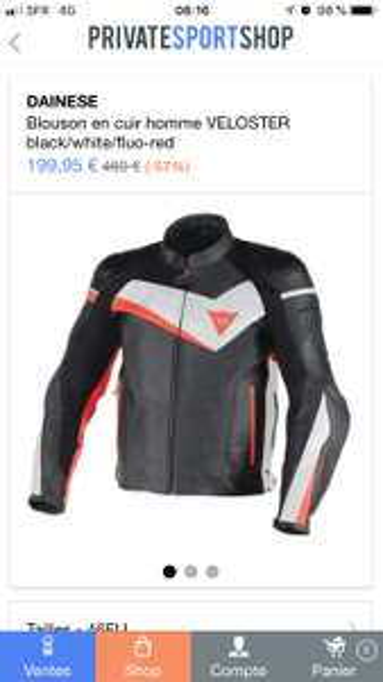 Blouson moto en cuir Dainese Veloster pour Homme