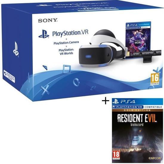 Pack Casque de réalité virtuelle Sony PlayStation VR avec Caméra et jeu VR Worlds + Resident Evil 7 Gold offert
