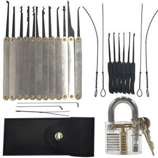 Kit de Crochetage (12 pièces) + Kit d'Extraction de Clé (10 pièces) + 1 Cadenas avec clés + Housse de rangement
