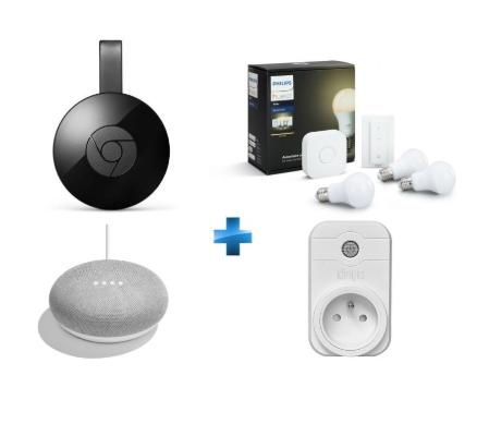 Kit de démarrage Philips Hue E27 (3 Ampoules + Pont + Interrupteur) + Chromecast + Google Home mini + Prise connectée