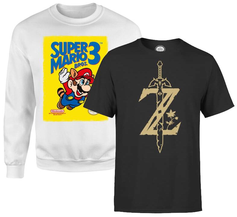 Sweat + T-Shirt Nintendo (Zelda, Metroid, Donkey Kong, Super Mario...) au choix parmi une sélection
