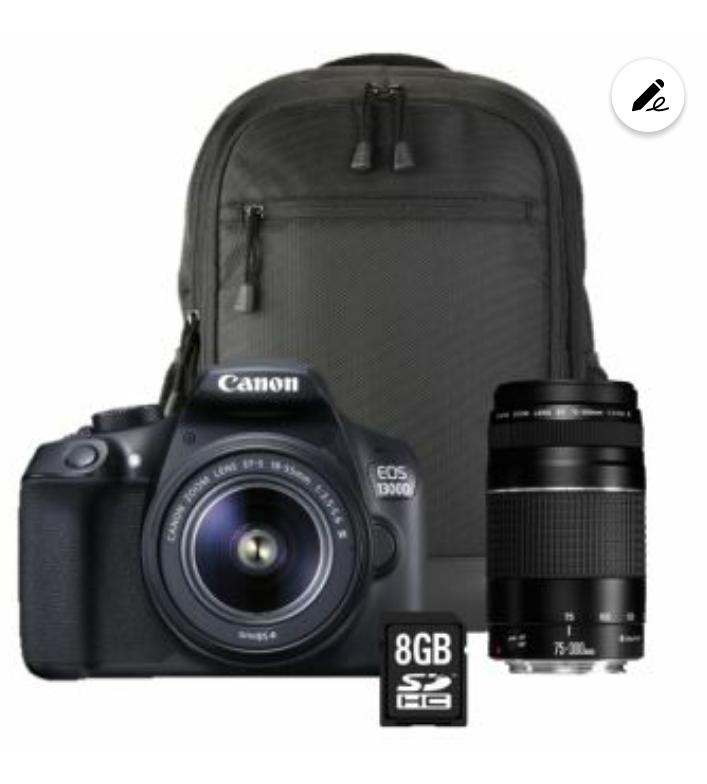 Appareil photo Reflex Canon EOS 1300D + Objectif 18-55 III + 75-300 III + Sac à dos + Carte SD 8Go
