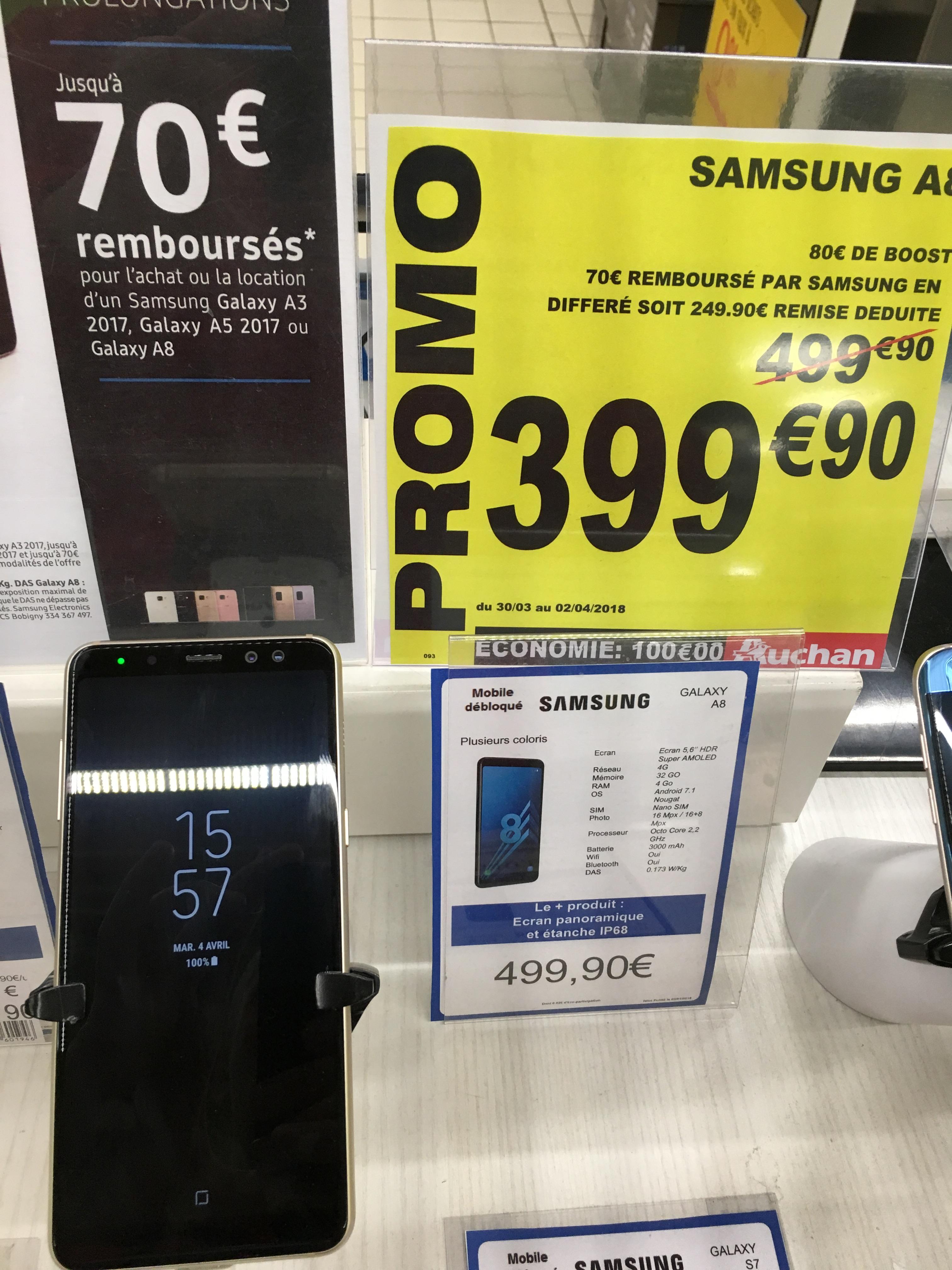 "Smartphone 5.6"" Samsung Galaxy A8 (2018) - Full HD+, Exynos 7885, RAM 4 Go, ROM 32 Go (via reprise en magasin + ODR de 70€) - Villars Porte du Forez (42)"