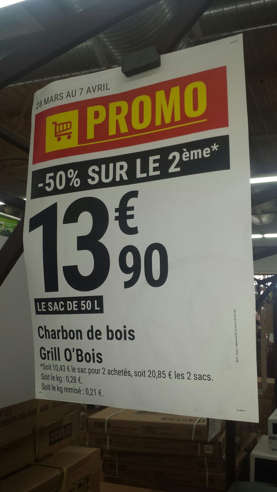 Lot de 2 sacs de Charbon de bois (2*50Kg) - Gam Vert Pertuis (84)