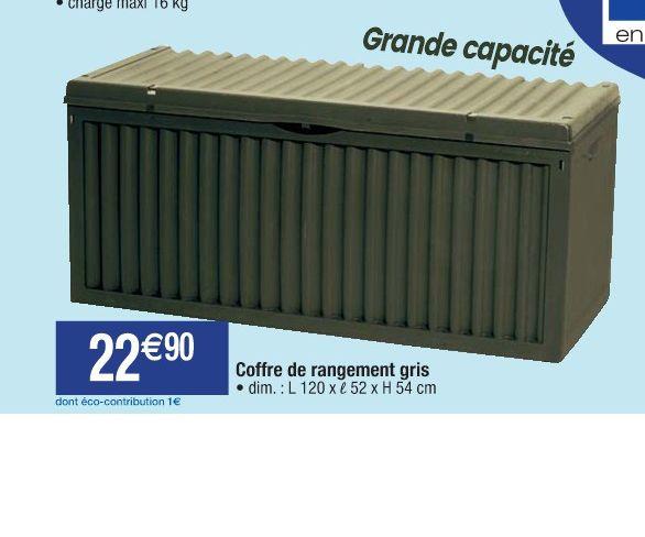 Coffre de rangement grande capacité - Gris, 120x52x54cm