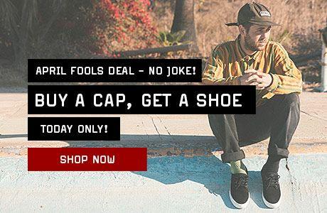 Une paire de chaussures offerte pour l'achat d'une casquette (à 54,95€)