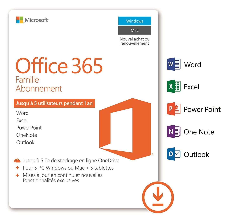 Abonnement d'un an à Microsoft Office 365 Famille - 5 PC/Mac + 5 tablettes (+ 1To Onedrive par compte)