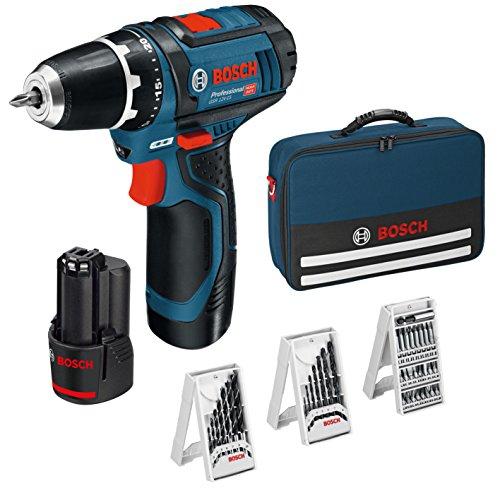 Perceuse sans fil Bosch Professional GSR 12V-15 - 12V + 39 pièces Set d'accessoires + 2 batteries 2,0 AH + Chargeur de batterie + pochette de rangement
