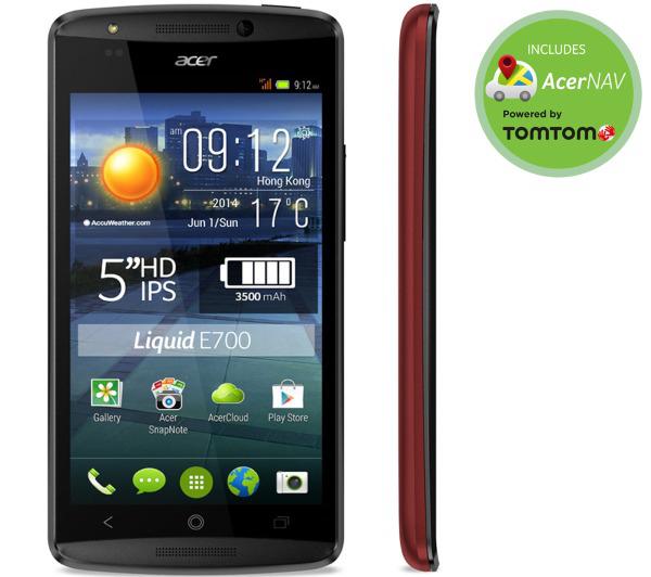 "Smartphone 5"" Acer Liquid E700 Trio - Rouge (Triple sim)"