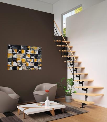 Escalier modulaire Verni en hêtre et métal