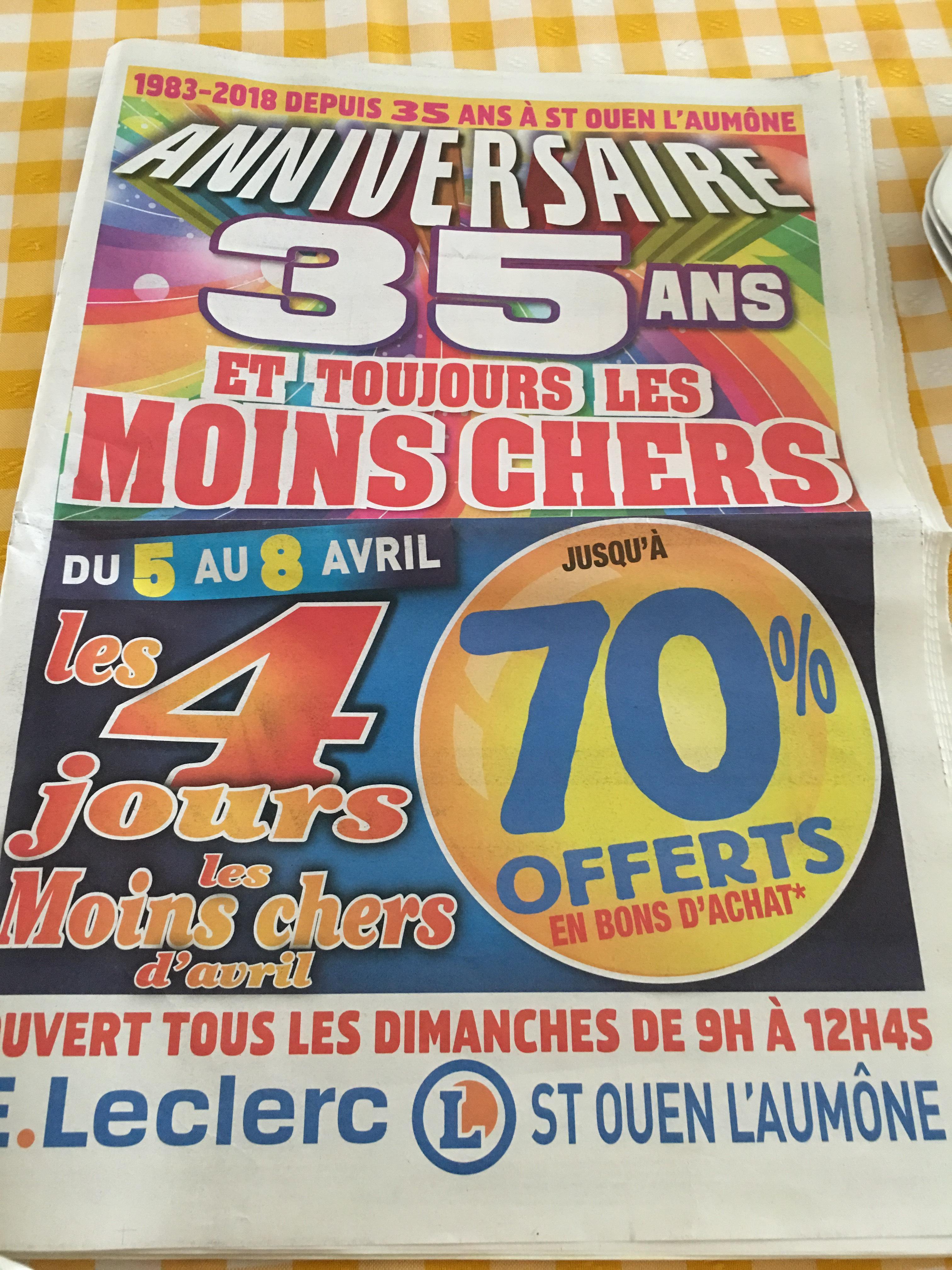 70 % offert en bon d'achat sur une sélection de produits - Ex: Liquide vaisselle Paic Excel 500 Ml - Saint Ouen L'aumone (95)