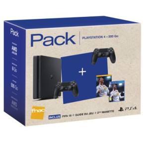 Console Sony PS4 Slim 500 Go + 2 manettes + FIFA 18 (et son guide officiel) + Destiny 2 + Artbook