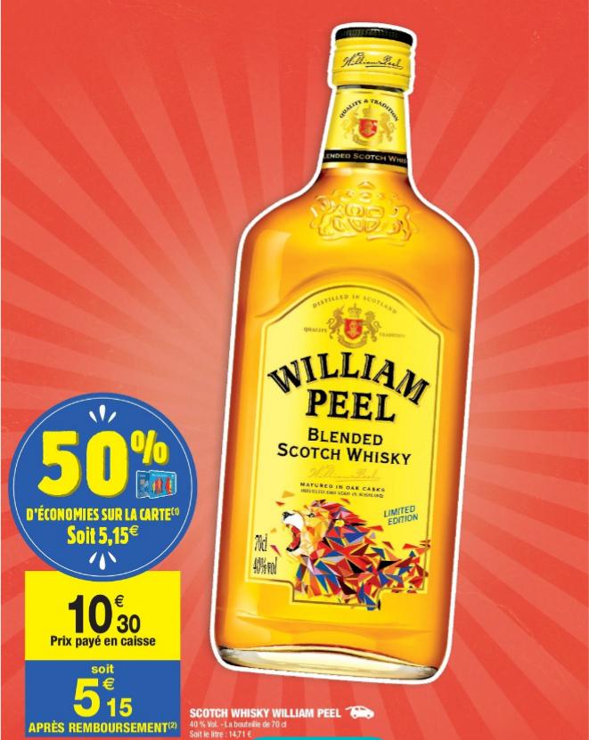 Bouteille William Peel - Édition Collector, 70 cl (via 5.15€ Fidélité)