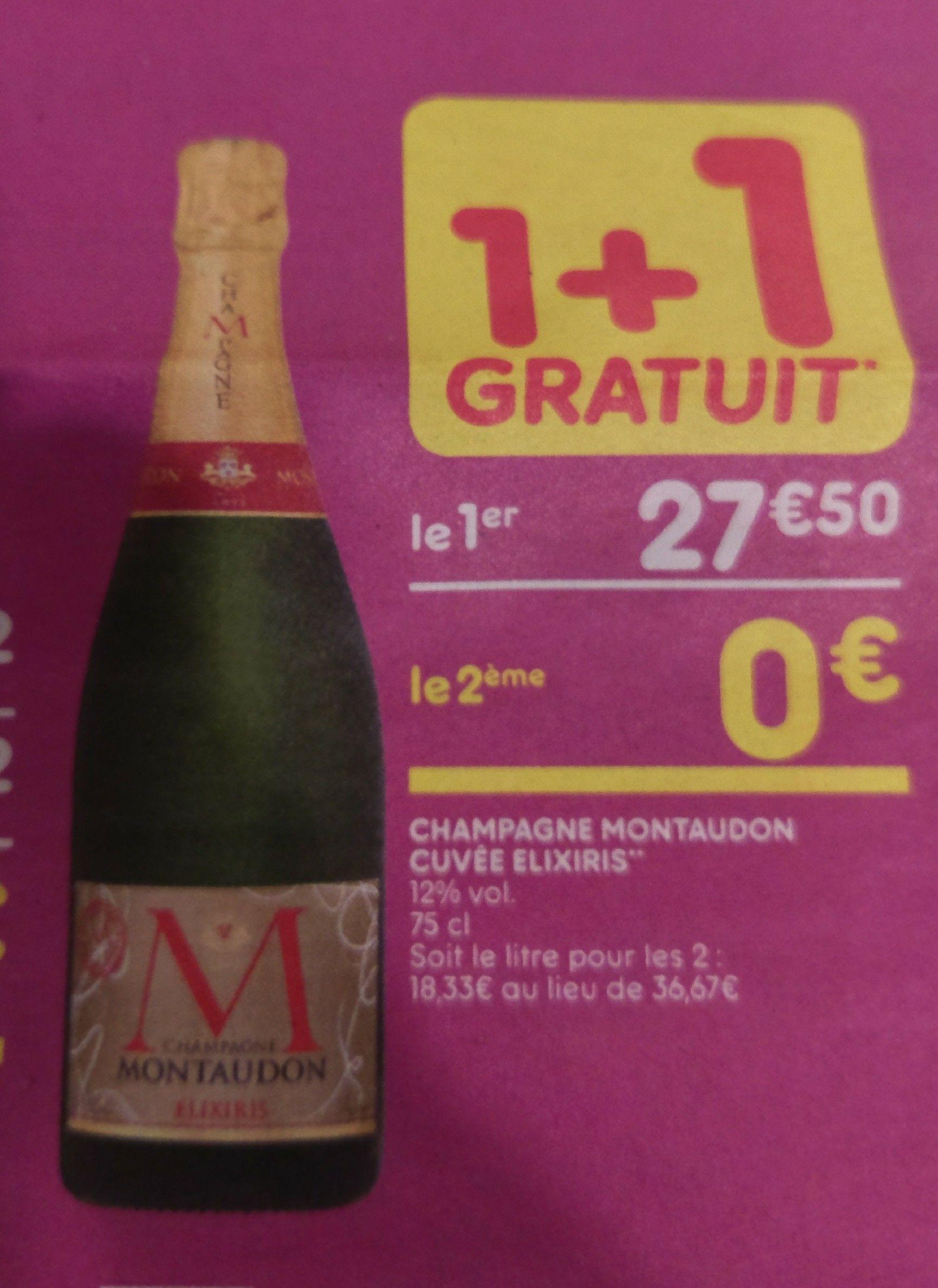 Deux bouteilles de champagne élixiris Moutandon