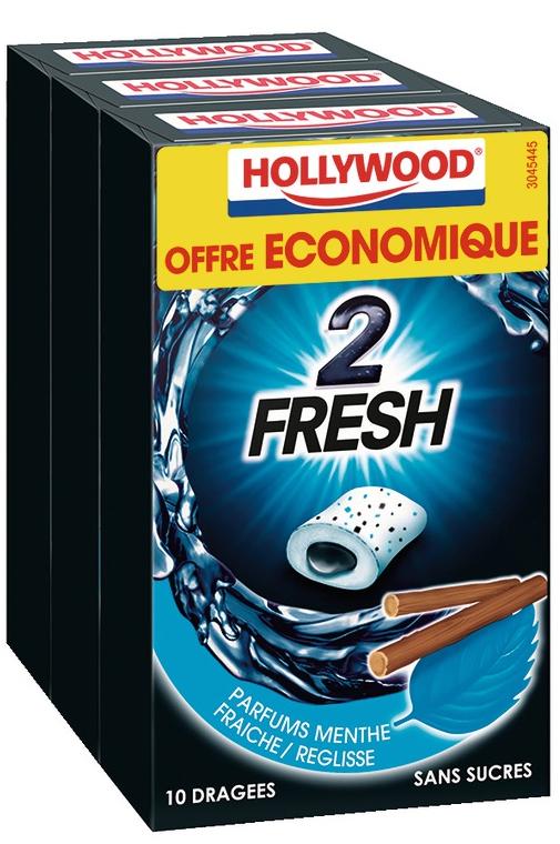 Sélection de Produits en Promotions : EX : 2 Lots de 3 Boites de Chewing-gum Hollywood Dragées Sans Sucres (via BDR)